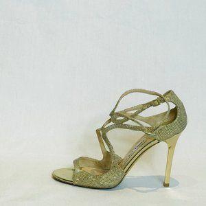 Jimmy Choo Silver Gold Lamé Lang High Heel Sandals